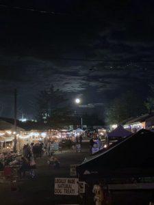 New Egypt Flea Market, at night.