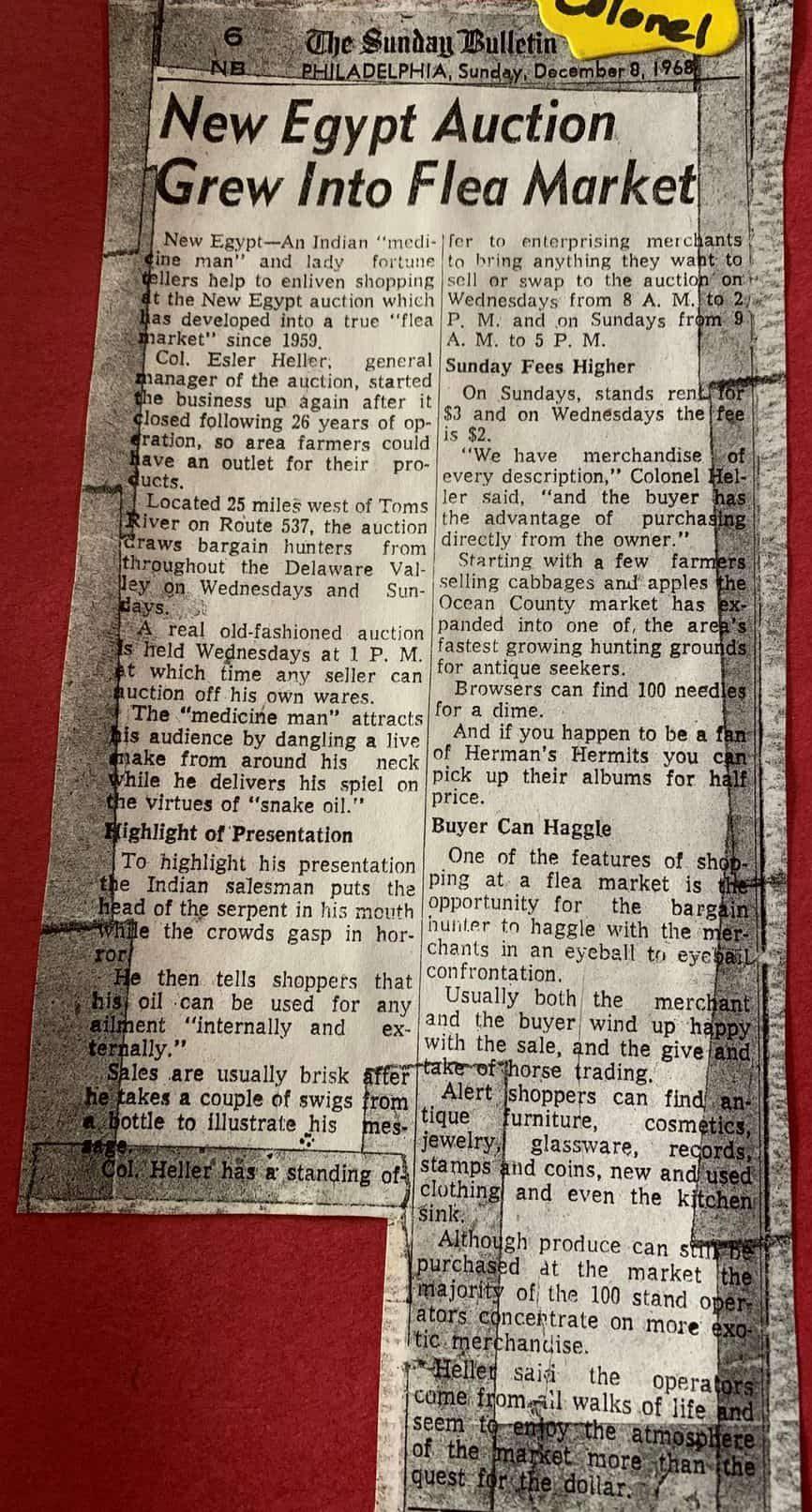 The Sunday Bulletin, Phila., PA: 12/8/1968- New Egypt Auction Grew Into Flea Market